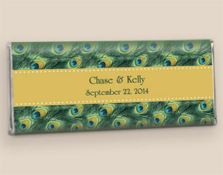 Peacock Feather Wedding Chocolate Bars