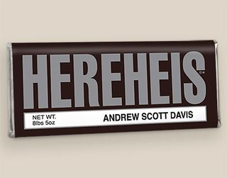 Personalized HEREHEIS Chocolate Birth Announcment